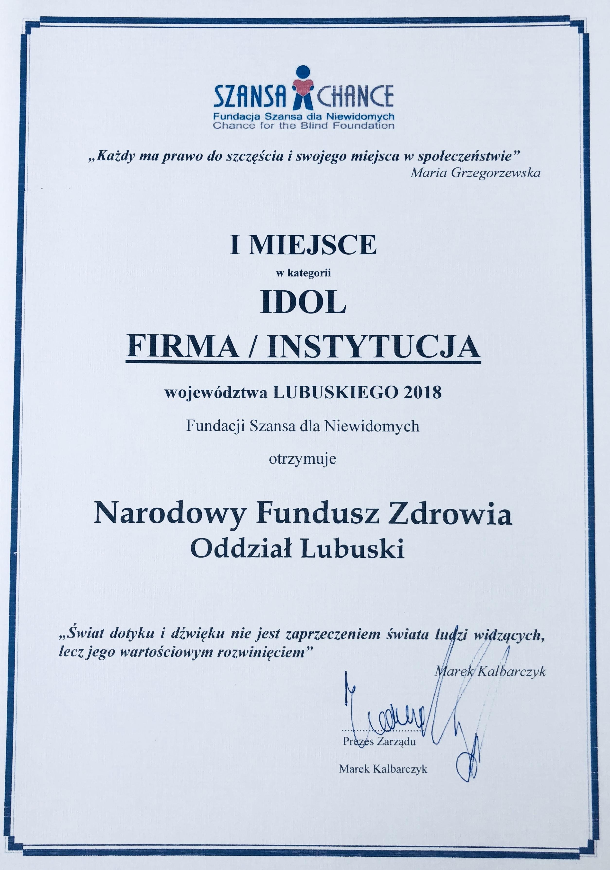 Ilustracja do informacji: LOW NFZ Idolem 2018 w kategorii Firma/Instytucja
