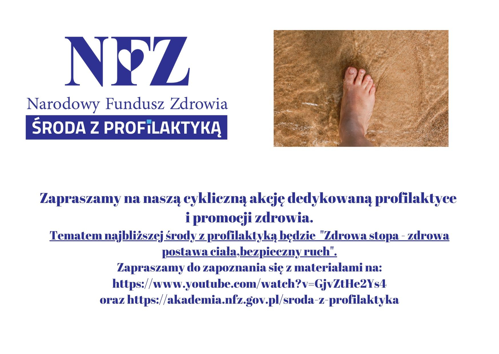 Ilustracja do informacji: Środa z profilaktyką - Zdrowa stopa - zdrowa postawa ciała, bezpieczny ruch.