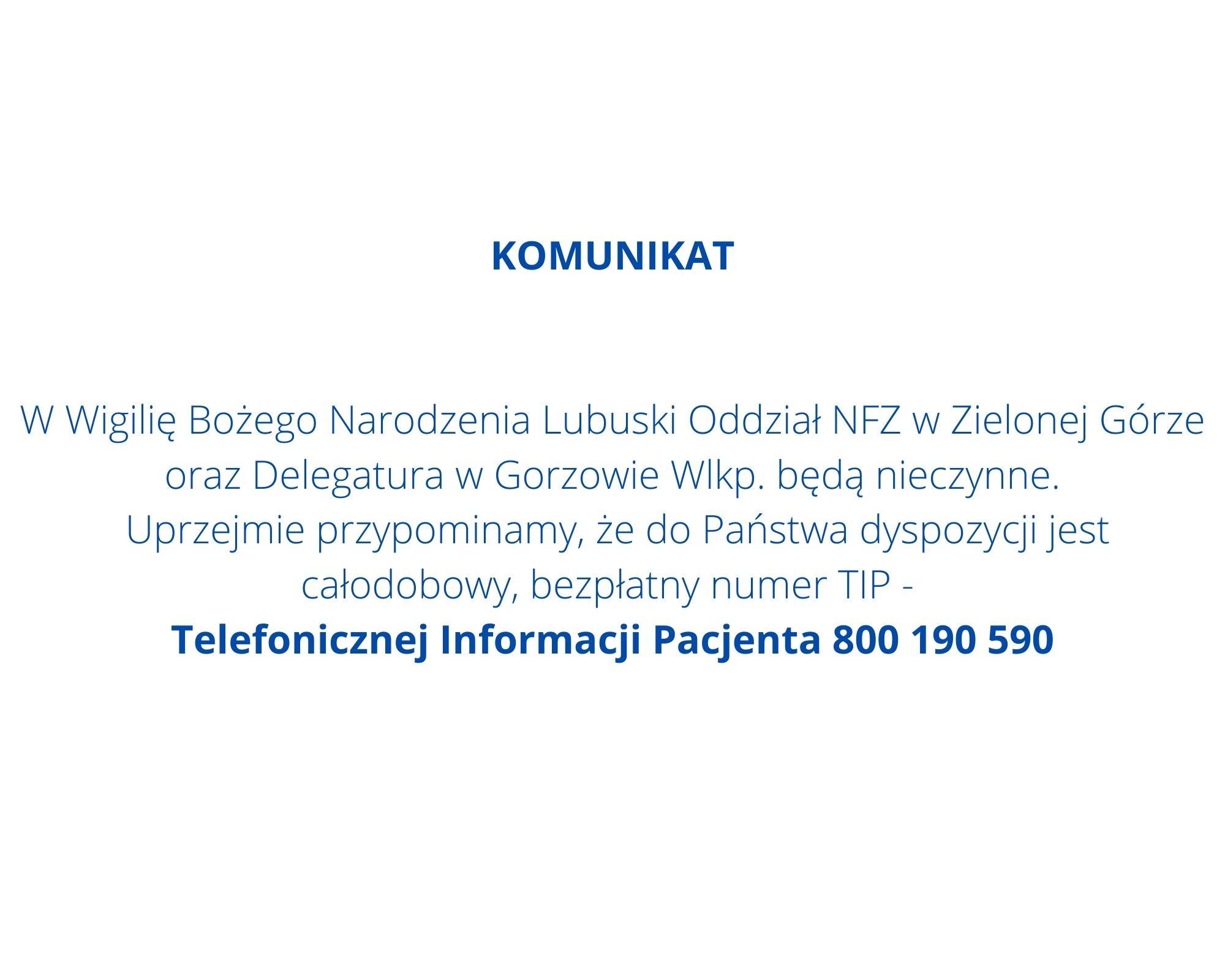 Ilustracja do informacji: Komunikat dot. pracy Lubuskiego Oddziału Wojewódzkiego NFZ oraz Delegatury w Gorzowie Wlkp. w Wigilię